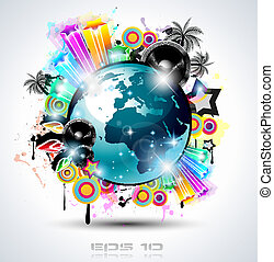 affiches, fond, elements., club, disco, international, danse, idéal, conception, publicité, lot, prospectus, musique, événement, panels.