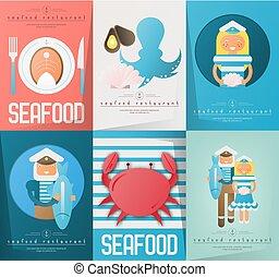 affiches, fruits mer, ensemble, restaurant