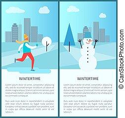 affiches, hiver, vecteur, parc, illustration