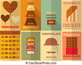 affiches, retro, collection, chocolat