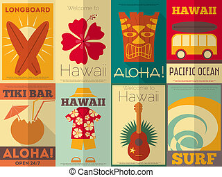 affiches, retro, verzameling, hawaii