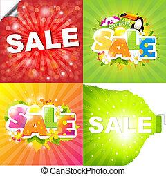 affiches, verkoop, kleurrijke