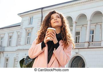 affichez dessous, de, tenue femme, tasse, café