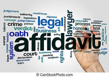 Affidavit word cloud concept on grey background.