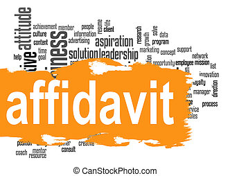 Affidavit word cloud with red banner image with hi-res...