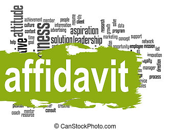 Affidavit word cloud with green banner image with hi-res...