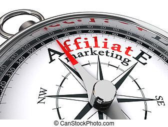 affiliate, 마케팅, 개념의, 나침의