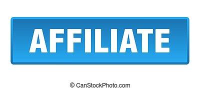 affiliate button. affiliate square blue push button