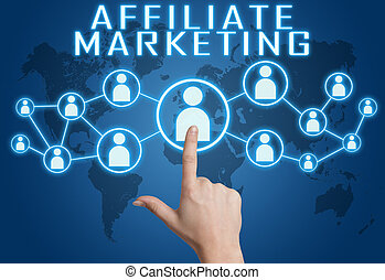 Affiliate Marketing concept with hand pressing social icons...