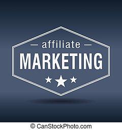 affiliate marketing hexagonal white vintage retro style...