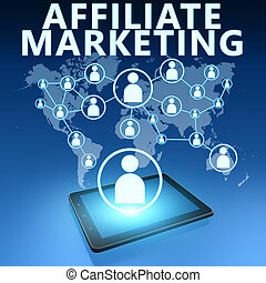 Affiliate Marketing illustration with tablet computer on ...