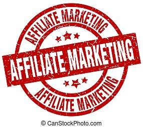 affiliate marketing round red grunge stamp