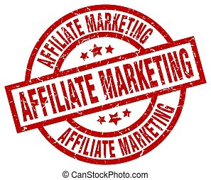 affiliate marketing round red grunge stamp