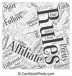 Affiliate Marketing Rules Word Cloud Concept