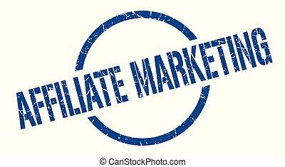 affiliate marketing blue round stamp