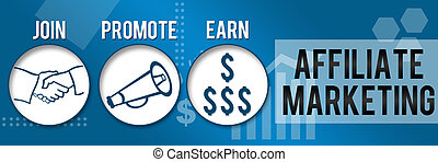 Affiliate Marketing Image with three blue circles and related symbols.
