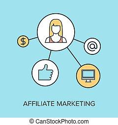 Vector illustration of affiliate marketing flat line design concept.