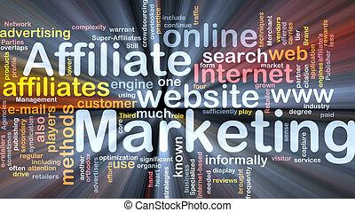affiliate, mercadotecnia, palabra, nube, caja, paquete