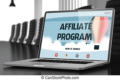 Affiliate Program Concept on Laptop Screen. 3D Rendering. -...