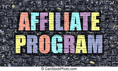 Affiliate Program in Multicolor. Doodle Design. - Affiliate...