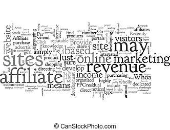 Affiliate Revenue No Go Whoa Know text background wordcloud concept