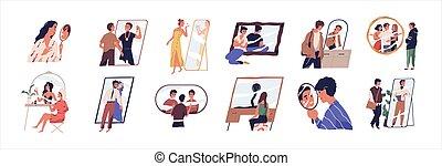 affirmations, vector, collection., illustratie, toekomst, achting, psychologie, spiegels, waarneming, set., spotprent, plat, over, zelf, karakters, positief, dromen, mensen, concept., narcissism