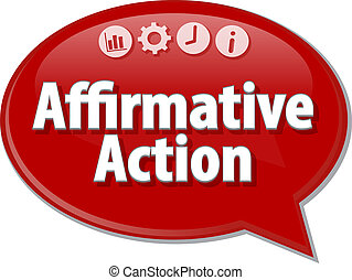 Affirmative action Business term speech bubble illustration...