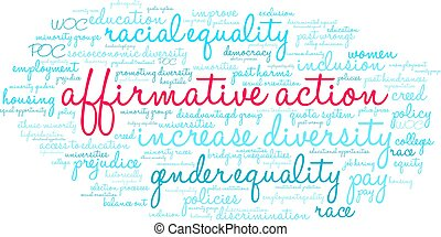 Affirmative Action word cloud on a white background.
