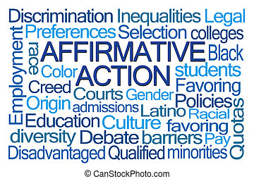 Affirmative Action Word Cloud on White Background