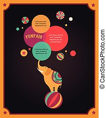 affisch, årgång, cirkus, anförande, bakgrund, elefant, bubblar