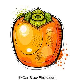 affisch, bakgrund., kort, eller, hand, suitable, målning, printing., frukt, t-shirt, vattenfärg, persimon, hälsning, oavgjord, illustration, vit