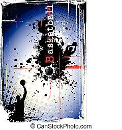affisch, basketboll, smutsa ner