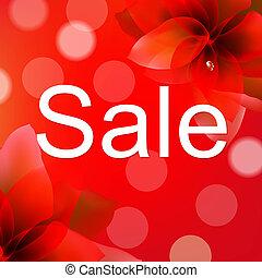 affisch, blomma, försäljning, röd