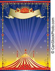 affisch, cirkus, natt