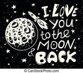 affisch, dig, kärlek, baksida, måne