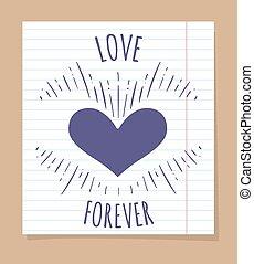 affisch, för alltid, kärlek, linjär, sida