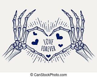 affisch, för alltid, kärlek, skelett, räcker