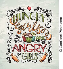 affisch, flickor, hungrig