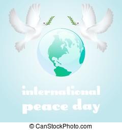 affisch, fred, filial, oliv, internationell, duva, dag