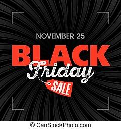 affisch, fredag, svart, försäljning
