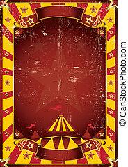 affisch, gul, smutsa ner, cirkus
