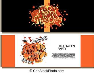 affisch, halloween, bakgrund, natt, fest banér, eller
