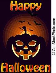 affisch, halloween, design, mall, parti, lycklig