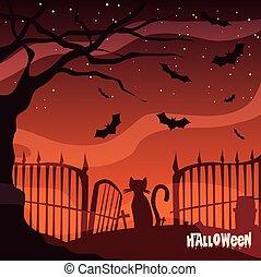 affisch, halloween scen, kyrkogård