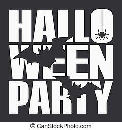 affisch, halloween, svart fond, natt, parti