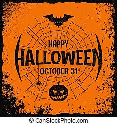 affisch, halloween, vektor, bakgrund, natt, parti