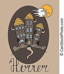 affisch, hand-drawn, halloween, castle., vampire's