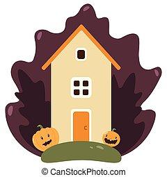 affisch, hus, halloween, besatt, bakgrund, natt, fest banér, eller