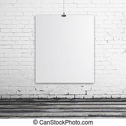 affisch, in, tegelsten, rum