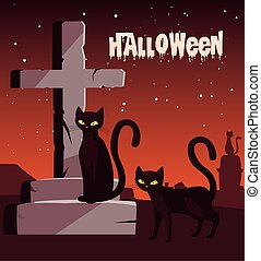 affisch, katter, halloween, kyrkogård